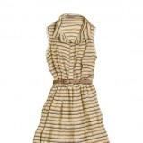beżowa sukienka Pull and Bear w paski - moda wiosna/lato