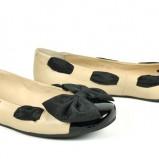 beżowe baleriny Badura z kokardą - wiosenne buty