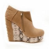beżowe półbuty Stylowe buty w węzową skórę - jesień/zima 2011/2012