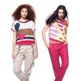 beżowe spodnie Benetton z szelkami - wiosna-lato 2012