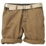 beżowe spodnie H&M z paskiem podwijane - lato 2012