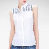 biała koszula Stradivarius z aplikacją bez rękawów - lato 2013