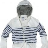 biała kurtka Pull and Bear w paski - moda wiosna/lato