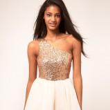 biała sukienka Asos z cekinami błyszcząca - kolekcja jesienno-zimowa