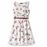 biała sukienka Echo we wzorki rozkloszowana - wiosna/lato 2012