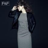 biała sukienka F&F w geometryczne wzory - z kolekcji jesień/zima 2013/2014