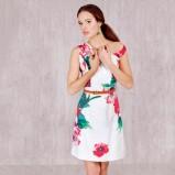 Biała sukienka w kwiaty od DanHen