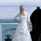 biała suknia ślubna Just For You Linia A drapowana