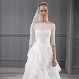 biała suknia ślubna Monique Lhuillier z koronkowami rękawami