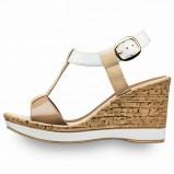 biało - brązowe na koturnie sandałki Tamaris - buty na wiosnę i lato 2013