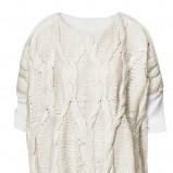 biały sweter H&M z warkoczami z krótkim rękawem - wiosna/lato 2012