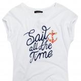 biały t-shirt Reserved z napisami - sezon letni