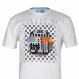 biały t-shirt Troll z nadrukiem - moda 2011