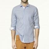 błękitna koszula ZARA w paski - moda wiosna/lato