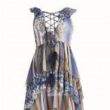 błękitna sukienka Elisabetta Franchi Celyn b w paski - lato 2011