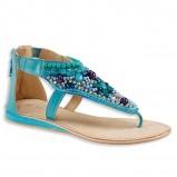 błękitne sandałki C&A z kamyczkami płaskie - lato 2013
