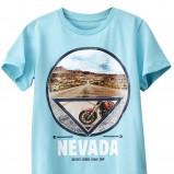 błękitny t-shirt H&M z nadrukiem - kolekcja na lato