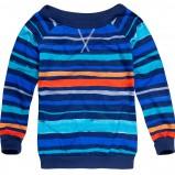 bluzka Reserved w kolorze niebieskim w paski i dekoldem w łodkę na jesień i zimę 2012/2012