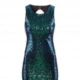 błyszcząca sukienka H&M w kolorze ciemnozielonym - kreacja na studniówkę
