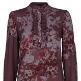 bordowa bluzka Claudia & Top Secret w kwiaty - sezon letni