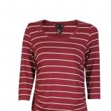 bordowa bluzka H&M w paski - lato 2012