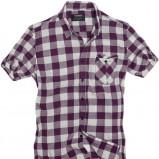 bordowa koszula Pull and Bear w kratkę - trendy wiosna-lato