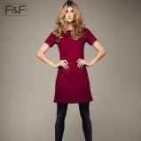 bordowa sukienka F&F - jesień 2012