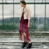 bordowa suknia Bershka - sierpień 2012
