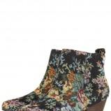 botki Topshop w kwiaty na niskim obcasie - moda damska 2012/2013