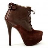 botki Venezia w kolorze brązowym na grubej platformie  - moda damska 2012/2013