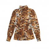 brązowa bluzka Bialcon we wzorki - moda 2011/2012