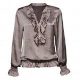 brązowa bluzka New Yorker z żabotem błyszcząca - kolekcja wiosenno/letnia