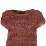 brązowa bluzka Topshop z frędzlami - letnia kolekcja