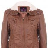brązowa kurtka Tally Weijl z zamkiem skórzana - jesień 2011