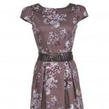 brązowa sukienka Claudia & Top Secret w kwiaty - sezon letni