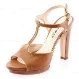 brązowe sandały Prima Moda z paskiem na słupku - wiosna/lato 2012