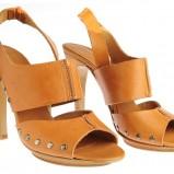 brązowe sandały Stefanel na obcasie - kolekcja wiosenno/letnia
