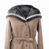 brązowy kożuch Wittchen z kapturem - moda zimowa