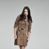 brązowy płaszcz Camaieu z zamszu - wiosna 2011