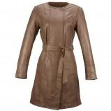 brązowy płaszcz Ochnik skórzany - wiosenna kolekcja