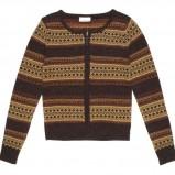 brązowy sweter C&A we wzorki rozpinany - kolekcja zimowa