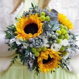 bukiet ślubny - słoneczniki