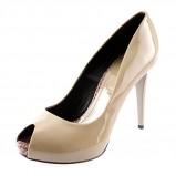 buty ślubne peep toe Prima Moda lakierowane