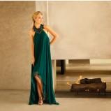 ciemnozielona suknia Adrianna Papell długa - jesień/zima 2011/2012