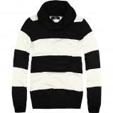 ciepły golf House w czarno - białe paski - swetry na jesień i zimę 2012/13