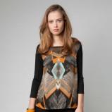 czarna bluzka Bershka we wzory - wiosna/lato 2012