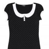 czarna bluzka Butik z kołnierzem - moda jesień/zima