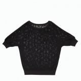 czarna bluzka F&F z koronką  - moda wieczorowa
