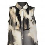 czarna bluzka H&M ze wzorem luźna - lato 2012