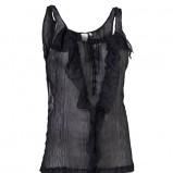 czarna bluzka InWear z falbanami prześwitująca - kolekcja letnia